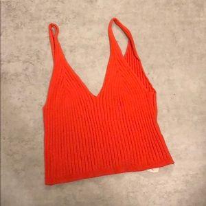 Orange V- neck crop top